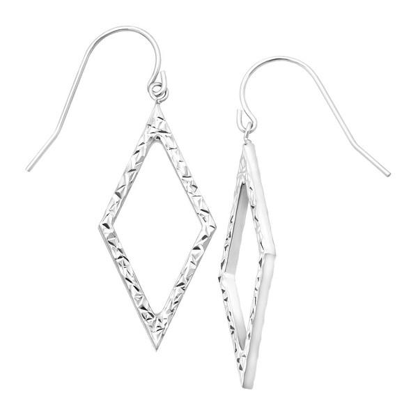 Just Gold Open Diamond-Shaped Drop Earrings in 10K White Gold