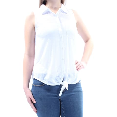 ALMOST FAMOUS Womens White Pocketed Sleeveless Collared Button Up Top Size: M