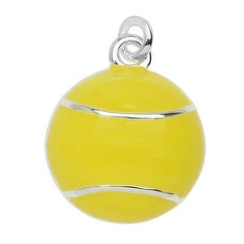 Silver Plated and Enameled Charm, Tennis Ball 17x14.2x4.7mm, 1 Piece, Light Yellow