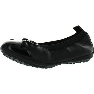 Geox Girls Piuma F Two Tone Leather Ballet Flats Shoes - Black
