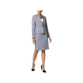 Le Suit Womens Skirt Suit Glen Plaid Professional