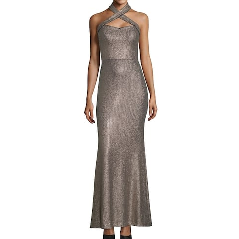 Xscape Womens Dress Silver Size 10 Sheath Sequin Gown Cross Neck