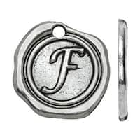 Lead-Free Pewter, Alphabet Charm Letter 'F' 18.5x19.5mm, 1 Piece, Antiqued Silver