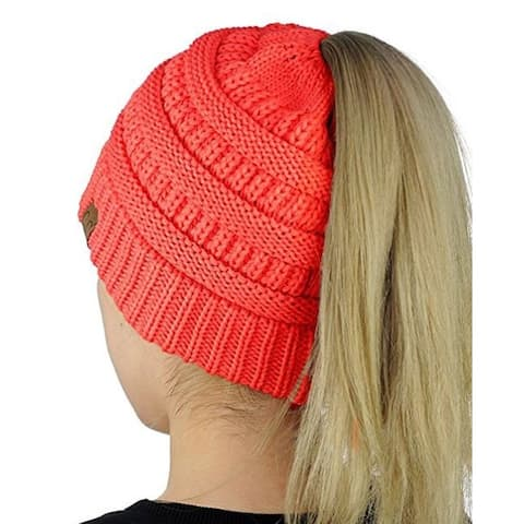 Ponytail Messy Bun Beanie Tail in Coral