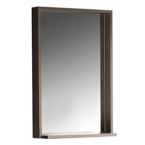 """Fresca Allier 22"""" Gray Oak Mirror with Shelf"""