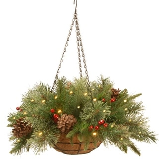 """20"""" Green and Red Battery Operated LED Lighted Colonial Hanging Basket Christmas Decor"""