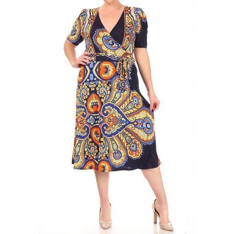 Casual Faux Wrap Pattern Print Plus Size Midi Dress