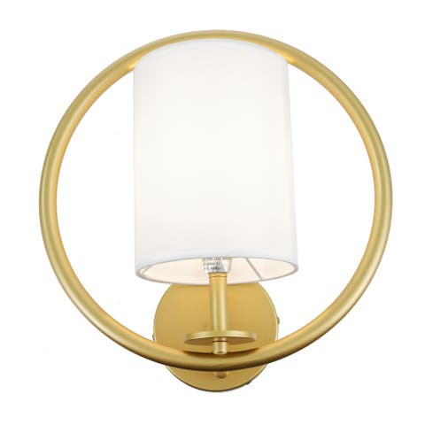 Aurora Gold Hoop Wall Sconce with White Fabric Shade