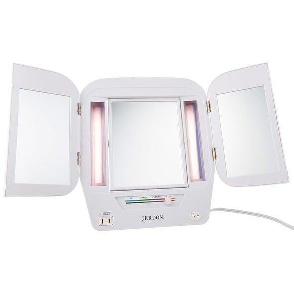 Shop Jerdon Tabletop Tri Fold Lighted Makeup Mirror 5x