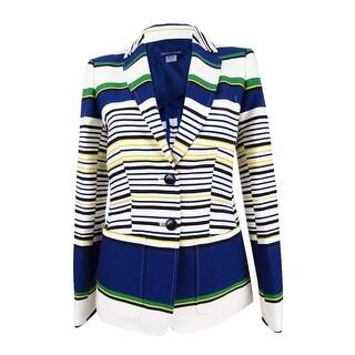 Tommy Hilfiger Women's Three-Pocket Striped Blazer - indigo multi