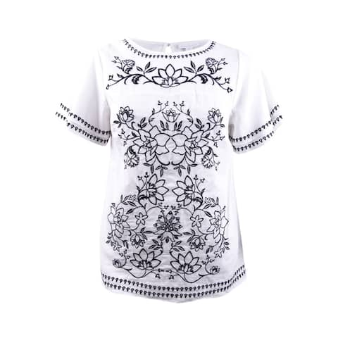 Charter Club Women's Plus Size Cotton Embroidered Top