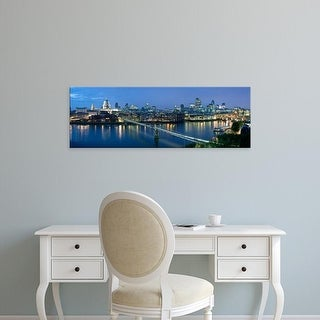 Easy Art Prints Panoramic Images's 'Millennium Bridge, St. Paul's Cathedral, Thames River, London, England' Canvas Art