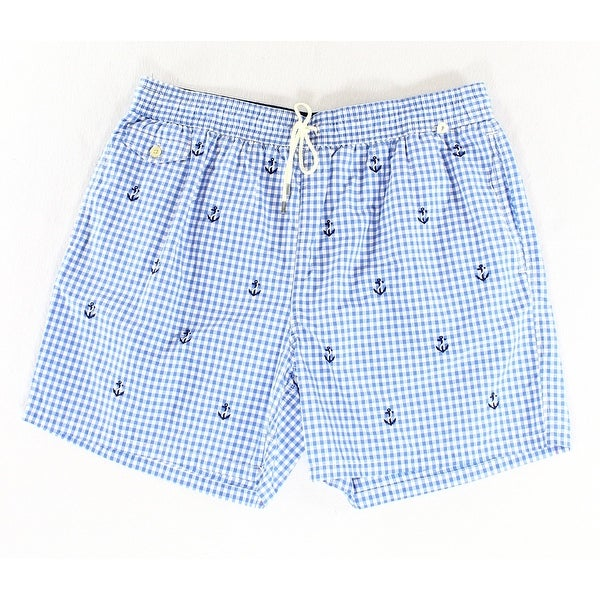 4ef4dfe023 ... free shipping polo ralph lauren new jewel blue mens size 2xl gingham  board shorts 15843 6f381