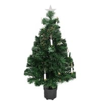 3' Pre-Lit Fiber Optic Artificial Christmas Tree with Candles - Multi Lights - green
