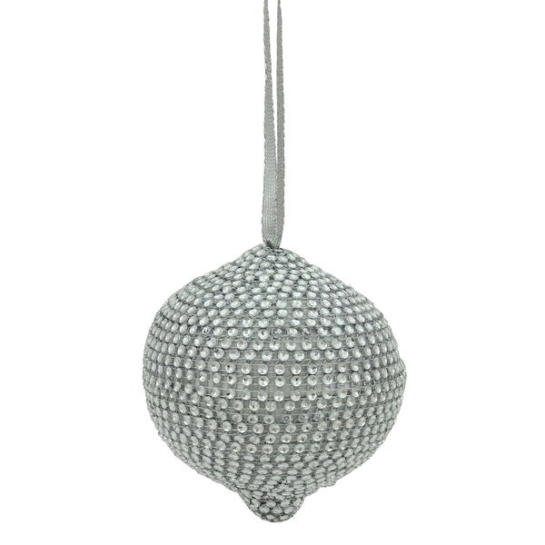 "4"" Glamorous Silver Rhinestone Onion-Shaped Christmas Ornament"