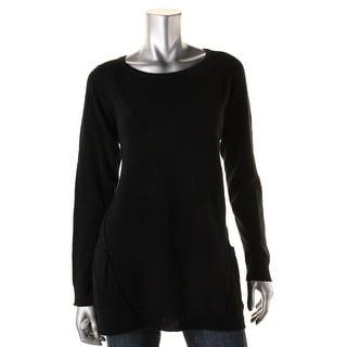 Aqua Cashmere Womens Cashmere Pockets Tunic Sweater