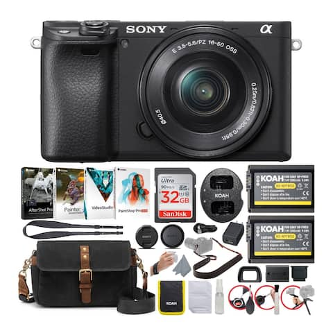 Sony Alpha a6400 Mirrorless Camera with 16-50mm Lens (Black) Bundle