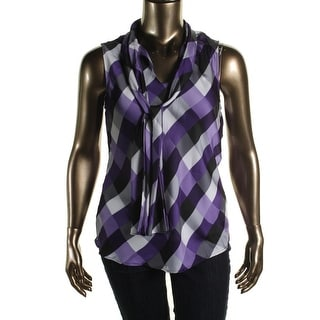 Nine West Womens Printed Sleeveless Pullover Top