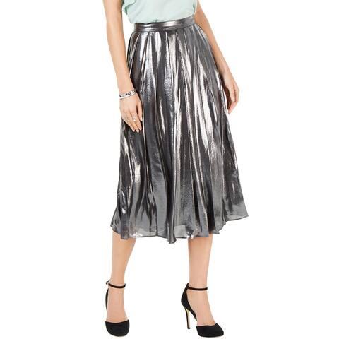 Michael Michael Kors Womens Foil-Coated Pleated Skirt 6 Black/Silver
