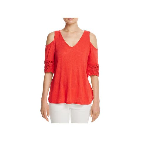 Red Haute Womens Casual Top Cold Shoulder Crochet