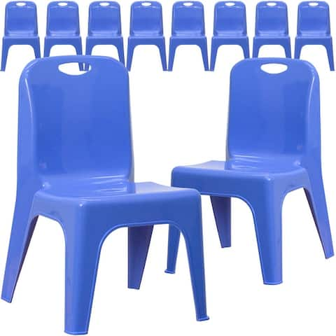 "10PK Plastic Stackable School Chair with Carrying Handle and 11"" Seat Height"