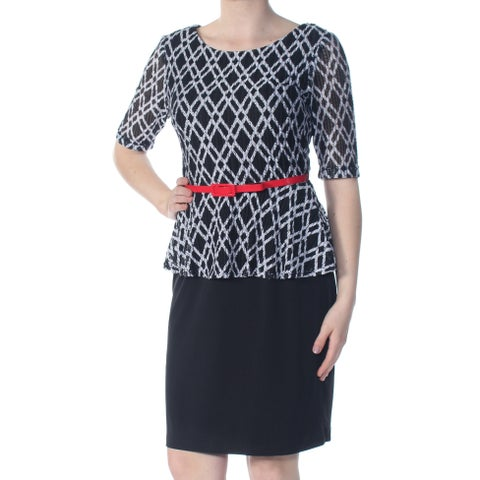 CONNECTED Womens Black Belted Argyle 3/4 Sleeve Scoop Neck Above The Knee Peplum Wear To Work Dress Size: 10