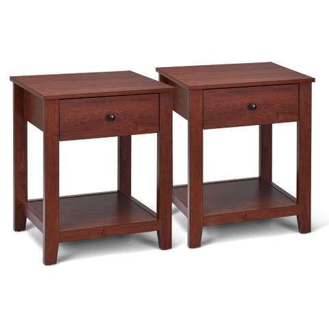 Costway Set of 2 Night Stand End Side Table Bedside Sofa Accent Table