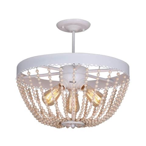 3 light vintage industrial wood beads white flush mount ceiling light