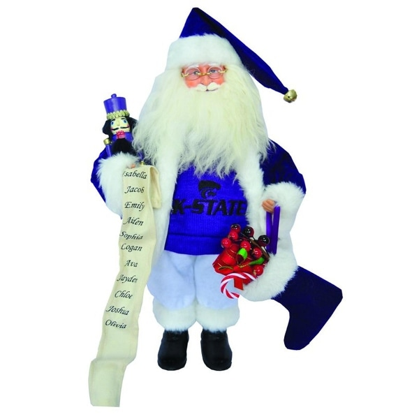 "15"" NCAA Kansas State Wildcats Santa Claus Christmas Figure with Nutcracker"