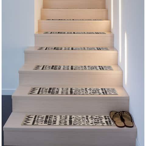Bohemian Design Geometric Brown/Tan Non-Slip Stair Treads