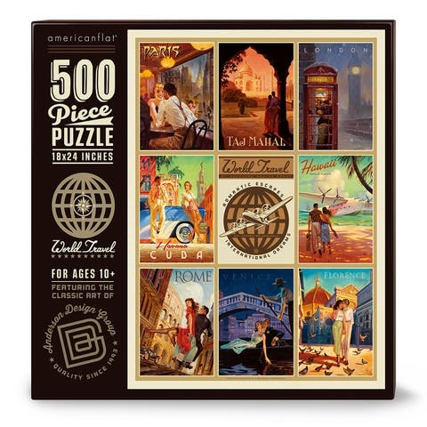 Americanflat 500 Piece Jigsaw Puzzle, 18x24 Inches, World Travel Romantic Escapes Art by Anderson Design Group - 18 x 24