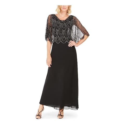 JKARA Womens Black Short Sleeve Maxi Sheath Evening Dress Size 10
