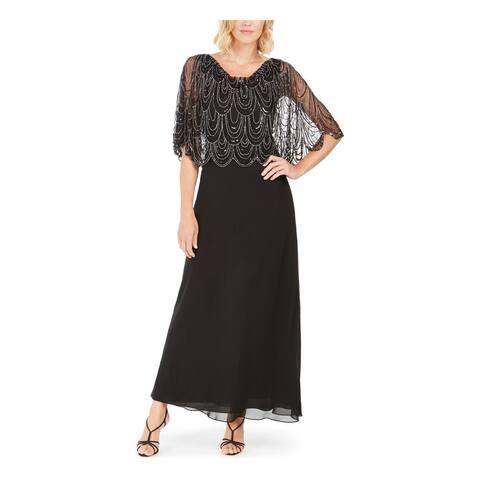 JKARA Womens Black Short Sleeve Maxi Sheath Evening Dress Size 8