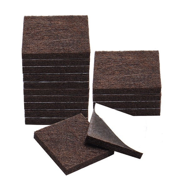 """16pcs Furniture Felt Pads Square 1 3/8"""" Self-stick Non-slip Anti-scratch Pads for Sofa Cabinet Chair Feet Floor Protector Brown"""