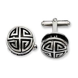 Stainless Steel Black Enamel & Greek Key Cuff Links