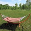 Sunnydaze Wooden Curved Arc Hammock & Hammock Stand, 12 Feet Long, 400 Pound Capacity - Thumbnail 14