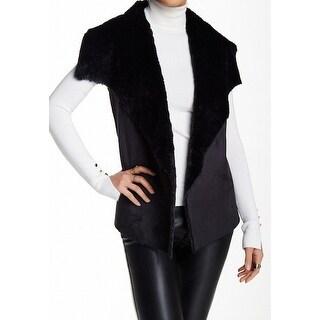 Romeo + Juliet Couture NEW Black Womens Size Large L Faux-Fur Vest