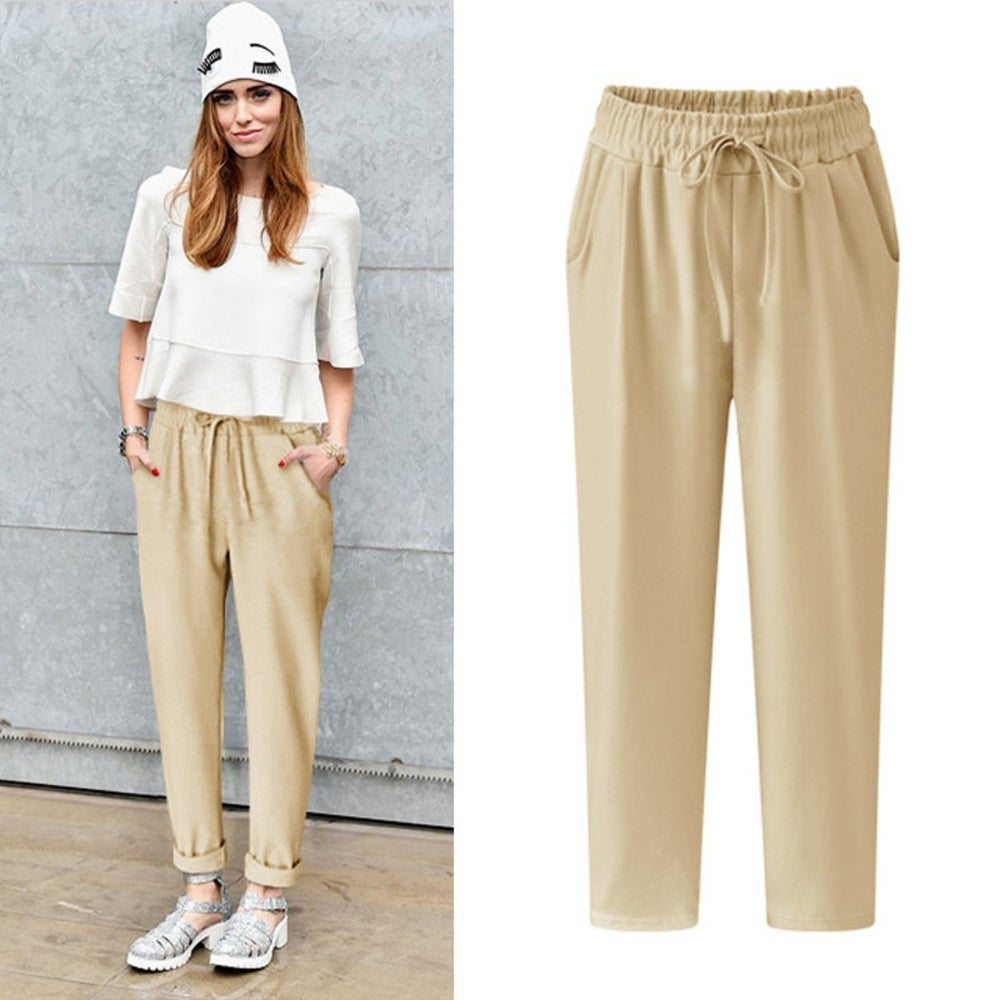 Linen Casual Pants Cotton Pants Thin Section Fat Mm Feet Pants
