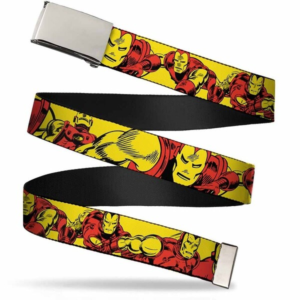 "Marvel Comics Blank Chrome 1.0"" Buckle Iron Man Body Action Repeat Webbing Web Belt 1.0"" Wide"