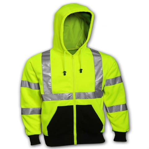 Tingley S78122.LG Class 3 Hooded High-Visibility Sweatshirt, Large, Lime Green