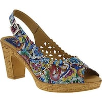 Spring Step Women's Lovelyness Floral Slingback Blue Multi Leather