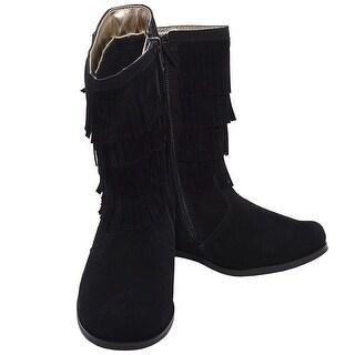L'Amour Black Faux Suede Fringe Zipper Fashion Boot Toddler Girl 7-10