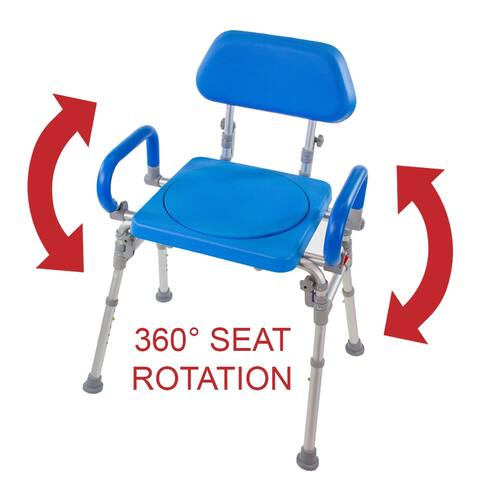 Platinum Health Liberty Folding Bath Shower Chair with Rotating Swivel Seat Padded Back Armrests