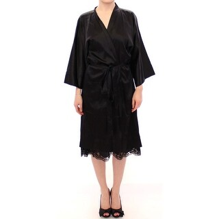 Dolce & Gabbana Black Silk Lace Dressing Gown Robe