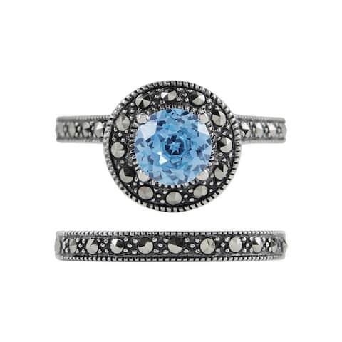 MARC Sterling Silver Blue Quartz & Marcasite Halo 2-piece Ring