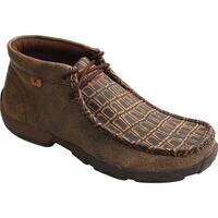 Twisted X Boots Men's MDMAL02 Alloy Toe Driving Moc Cayman Print/Brown Leather