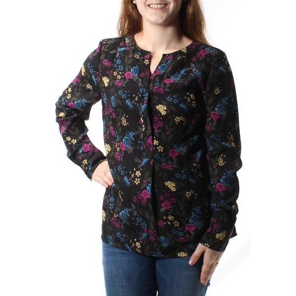ffc340427f Shop KENSIE Womens Black Floral Long Sleeve V Neck Top Size  M - On Sale -  Free Shipping On Orders Over  45 - Overstock - 26858226