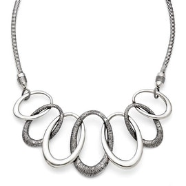 Chisel Stainless Steel Oval Antiqued with 3.5in ext. Necklace (4 mm) - 17.5 in