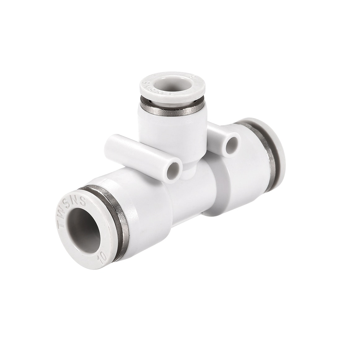 Plastic Tee Push To Connect Tube Fittings 8mm-6mm od Push Lock White 2pcs