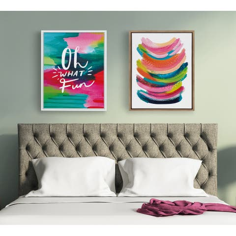 Kate and Laurel Sylvie Bright Abstract Framed Canvas By Jessi Raulet